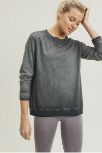 Black Washed Long Sleeve Pullover
