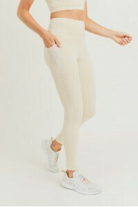 Natural High Waist Leggings w/Overlay Mesh Pocket