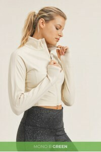 Natural Cropped High Neck Jacket w/Thumb Holes