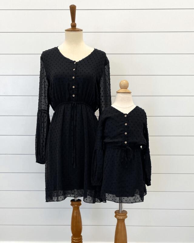 Black Dotted Swiss Dress-Children's