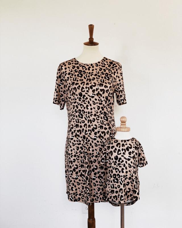 Leopard T-Shirt Dress-Adult
