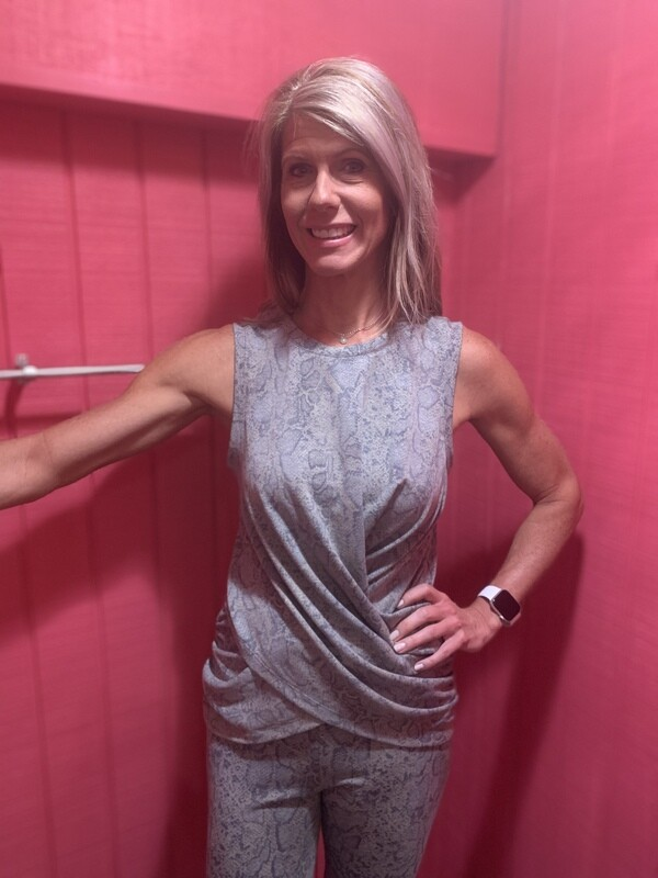 Blue & Grey Print Sleeveless Top With Twist Front