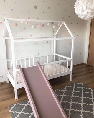Wooden Montessori House Bed Frame with Rails and Slide