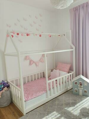 Wooden Montessori Classic House Bed Frame with Vertical Rails