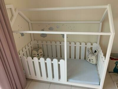 Wooden Montessori House Bed Frame with Picket Fence