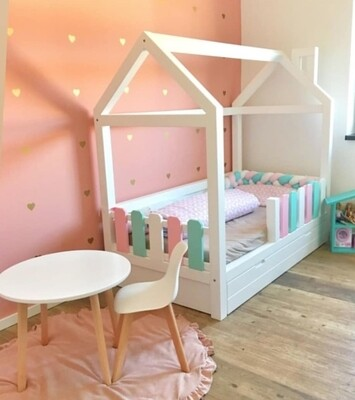 Wooden Montessori House Bed Frame with Picket Fence and Drawer