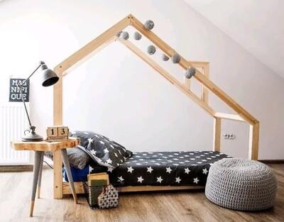 Wooden Montessori Slanted Basic House Bed Frame