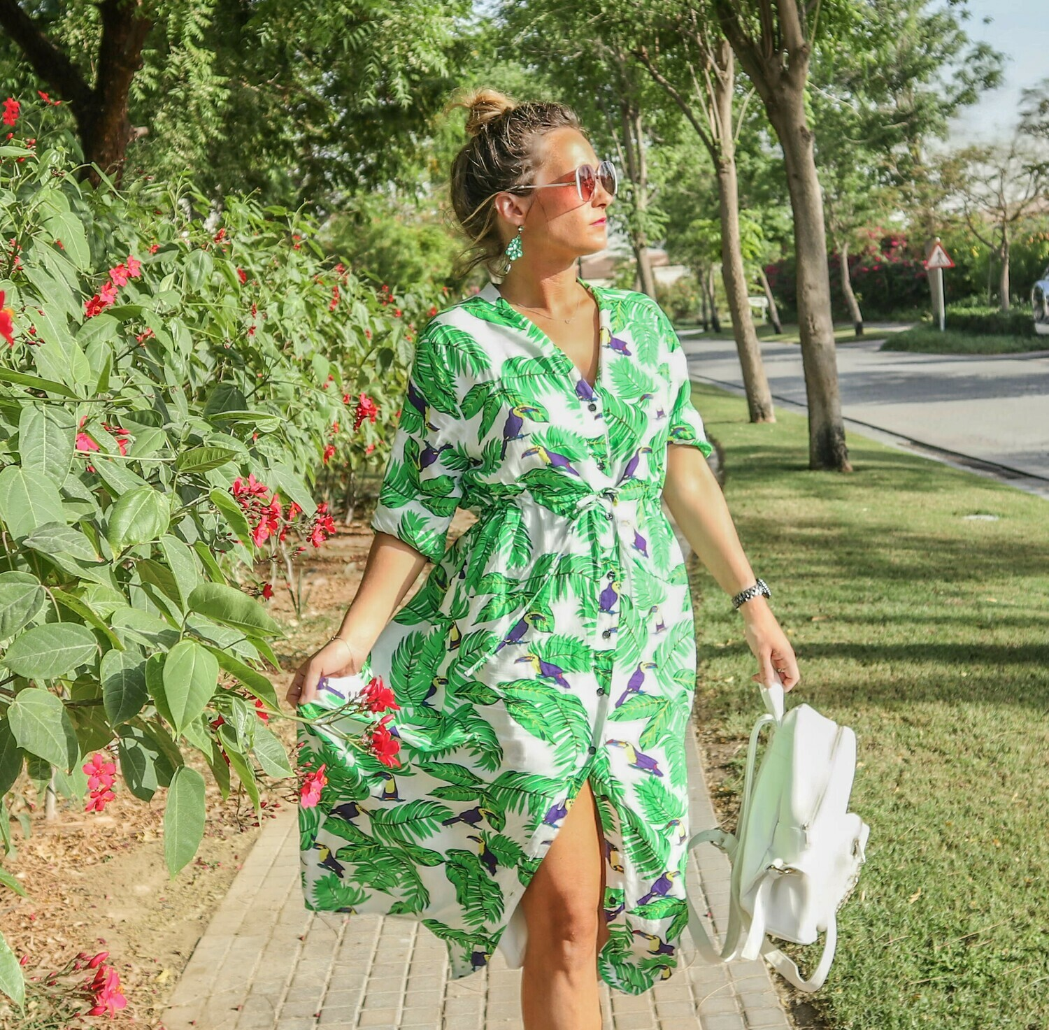 The Sally Dress: White & Green Tropical Print