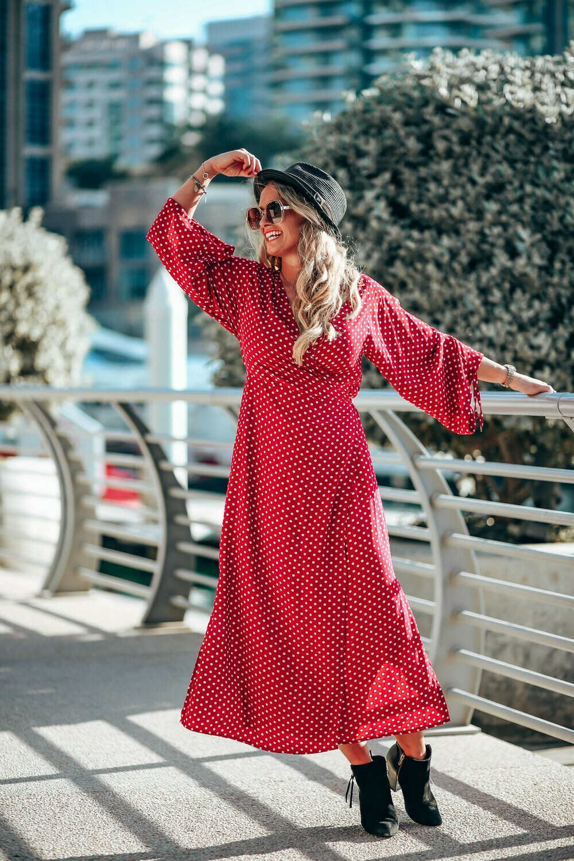 The Classic Wrap Dress: Dark Red Polka Dot