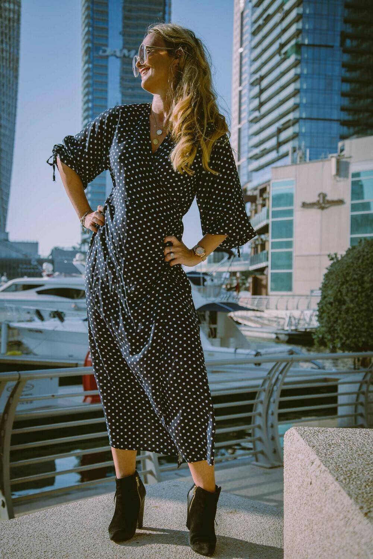 The Classic Wrap Dress: Black Polka Dot