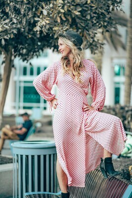 The Classic Wrap Dress: Light Pink Polka Dot