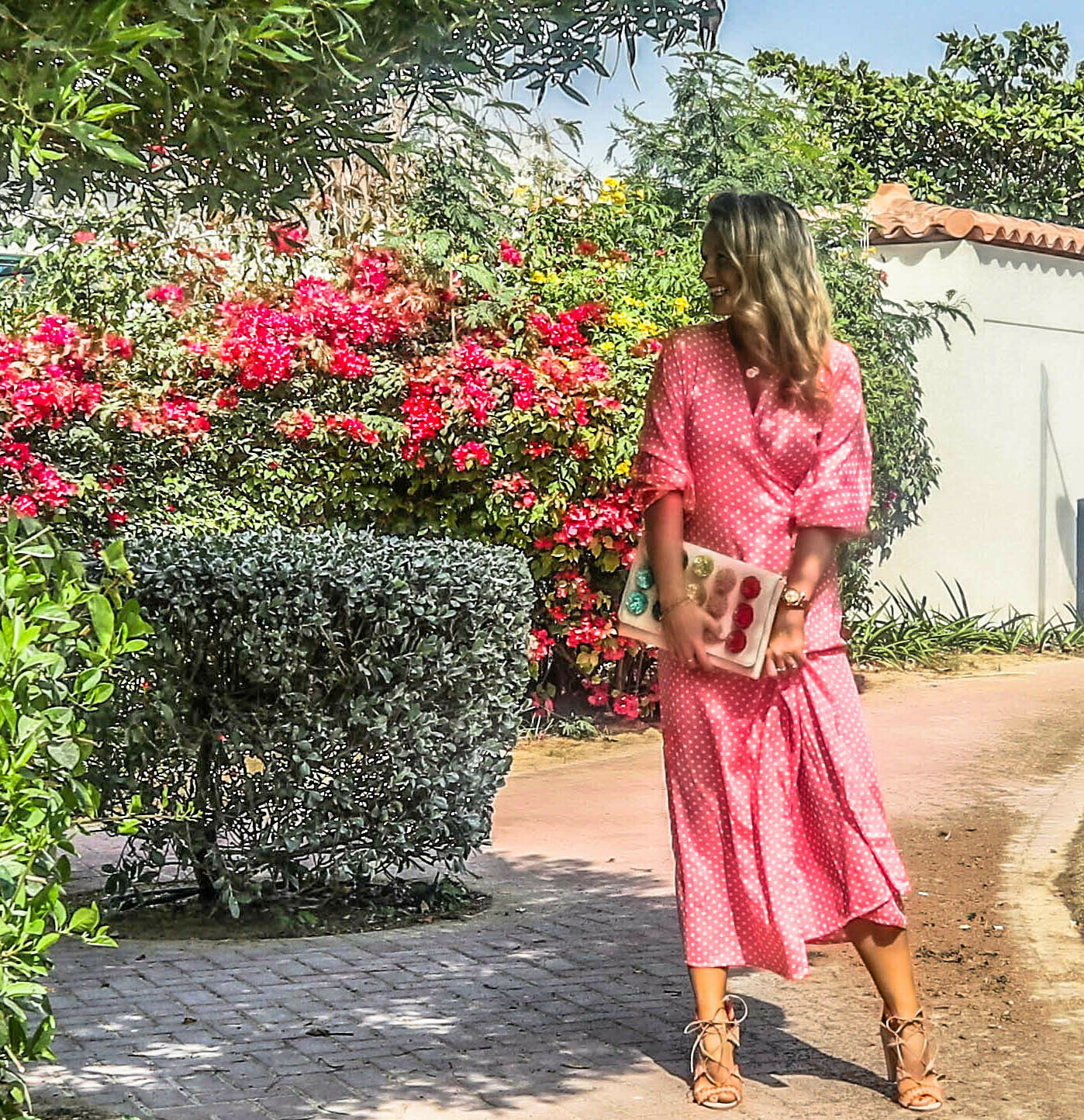 The Classic Wrap Dress: Bright Pink Polka Dot