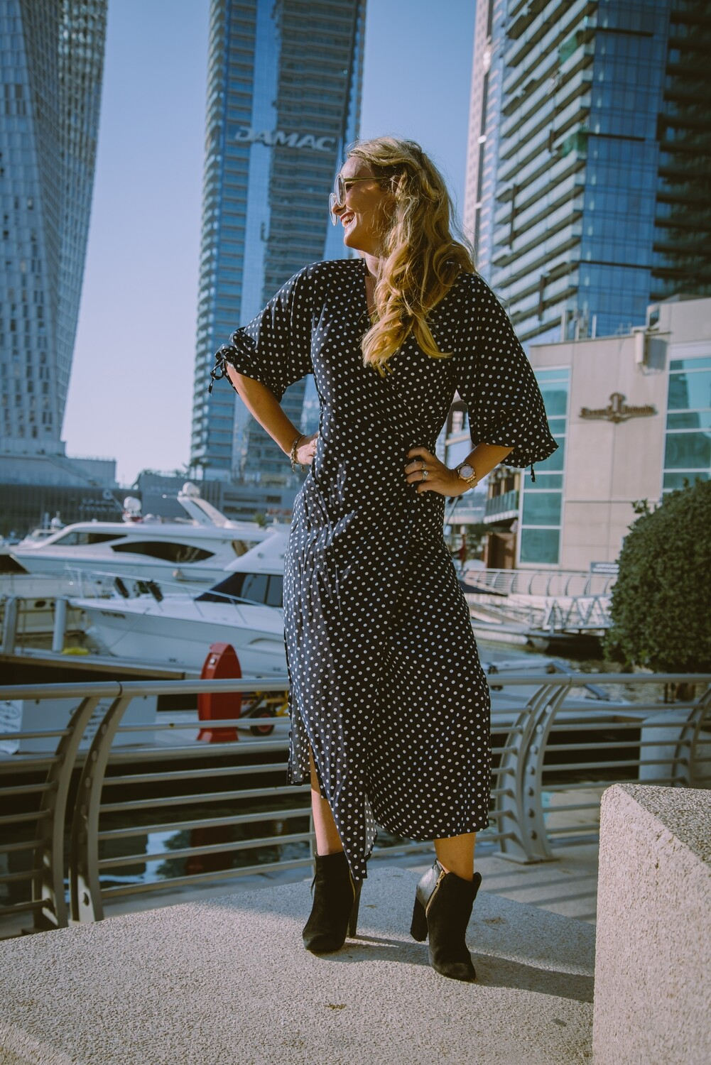 The Classic Wrap Dress: Navy Polka Dot