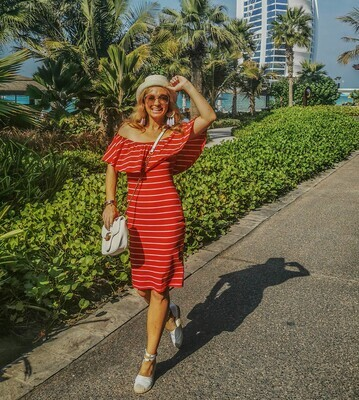 The Burj: Striped Red and White Off Shoulder Dress