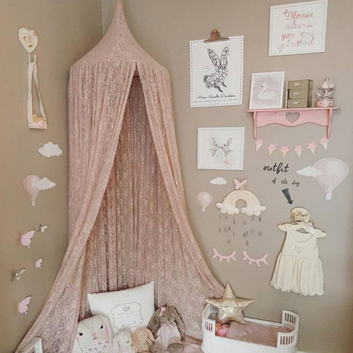 Stunning Boho Pink Lace Hanging Canopy/Play Tent