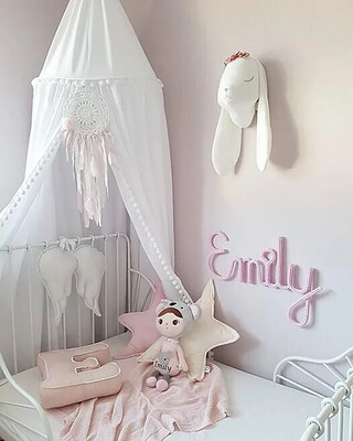 Beautiful Handmade Unique Pom Pom Canopy - White