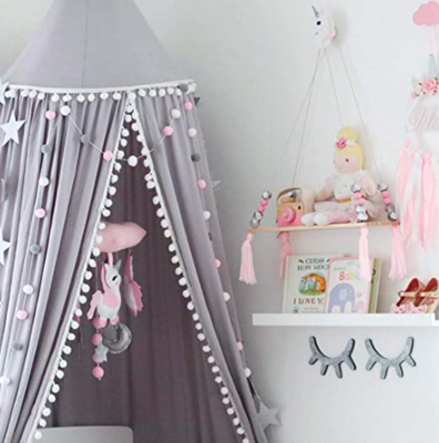 Beautiful Unique Pom Pom Canopy - Grey