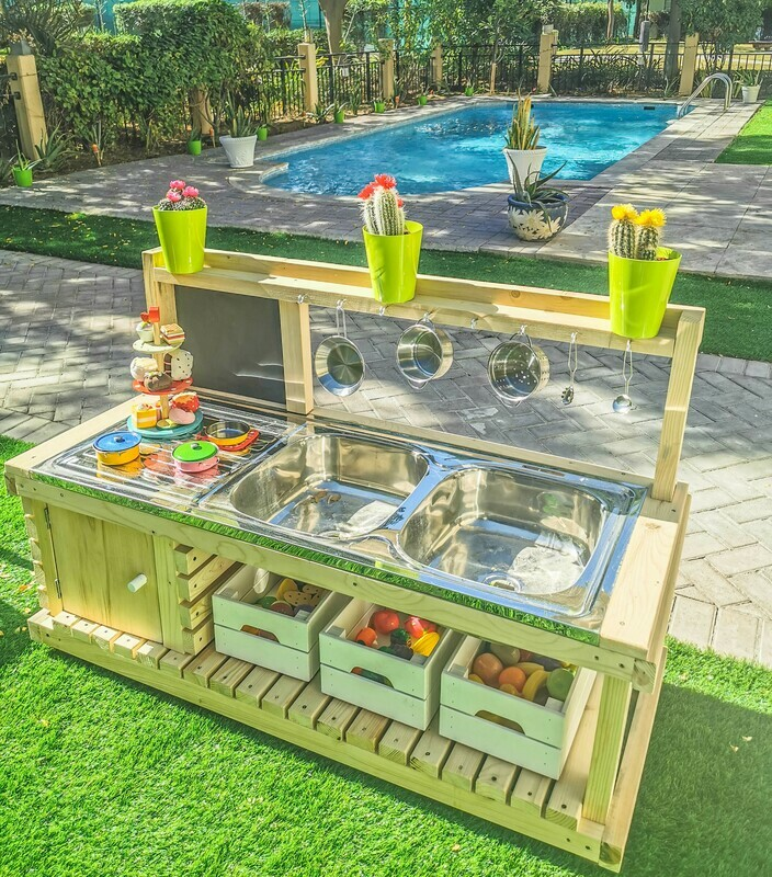 The Izzy: Outdoor Wooden Mud Kitchen with Double Aluminum Kitchen Sink and Blackboard