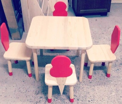 Wooden Ice Cream Table and Two Chair Set