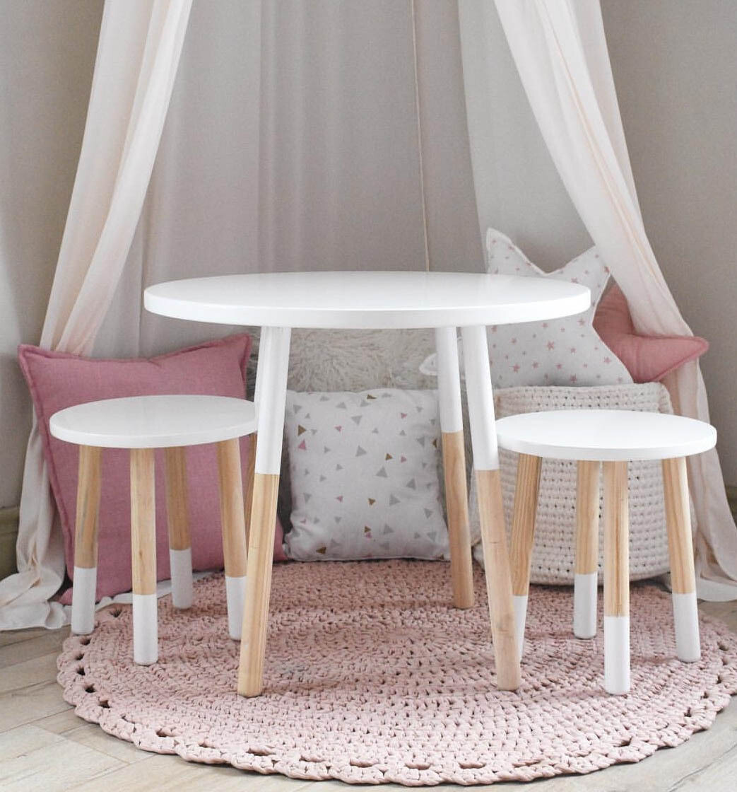 Wooden Round Table and Two Stool/Chair Set