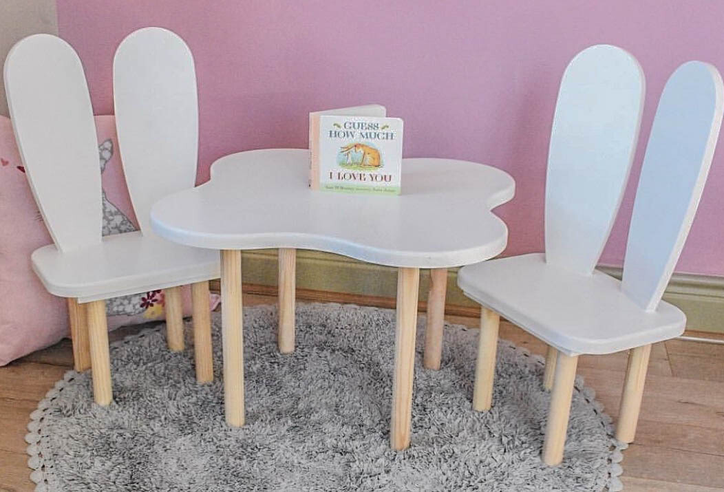 Wooden Cloud Table and Two Bunny Chair Set