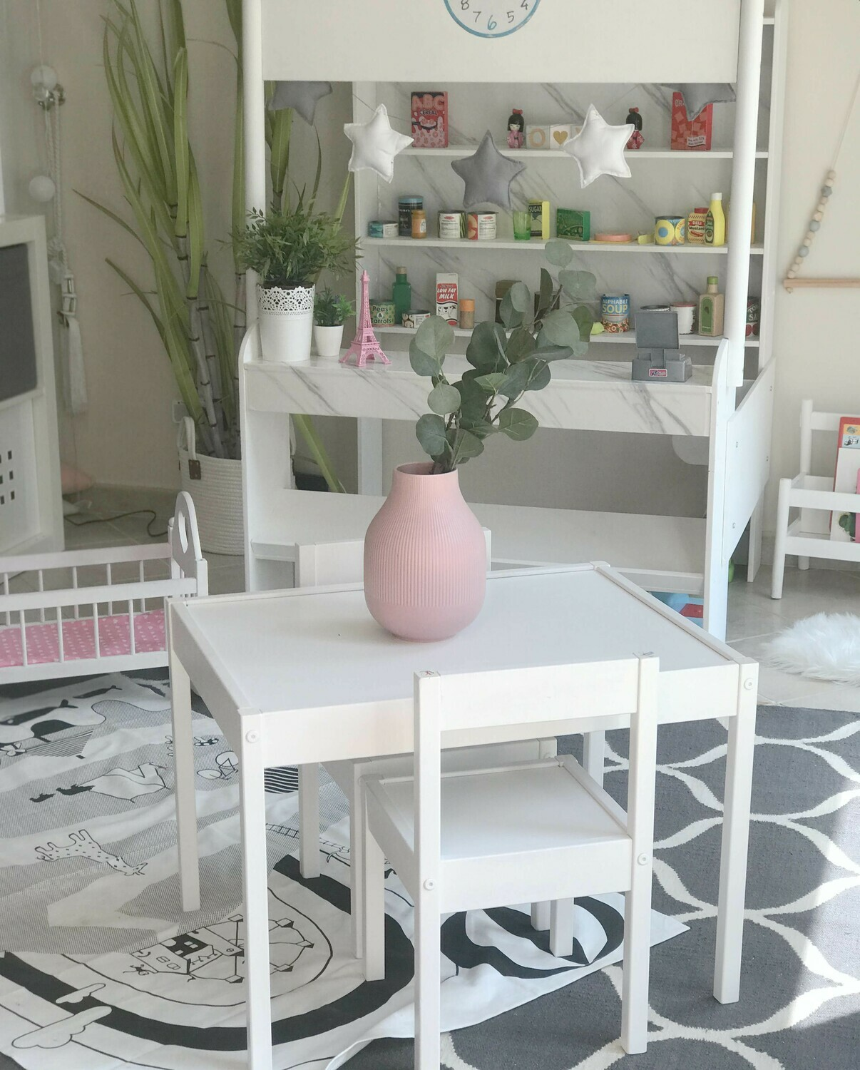 Wooden Square Table and Two Chair Set