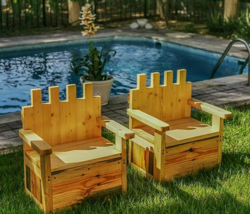 Outdoor Wooden Tudor Thrones - Set of two