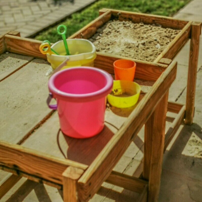 Outdoor Wooden Child Sand and Water Sensory Play Area