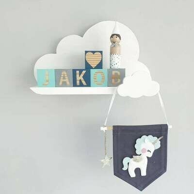 Wooden Classic Cloud Shelf with Hook