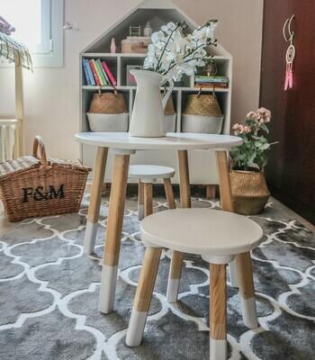 Wooden White Round Stool