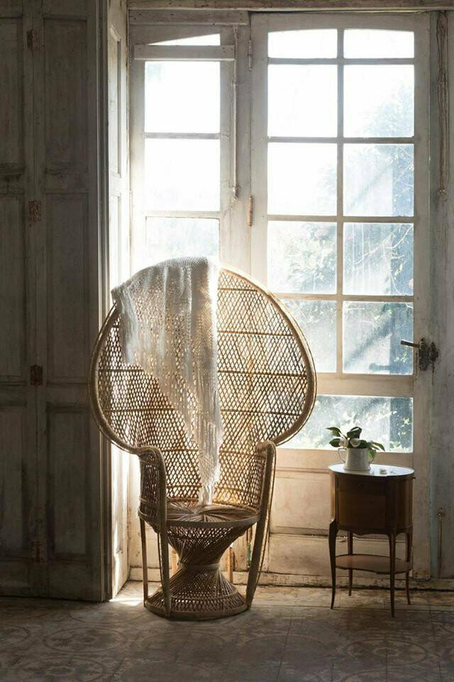 Wicker/Rattan Boho Peacock Chair