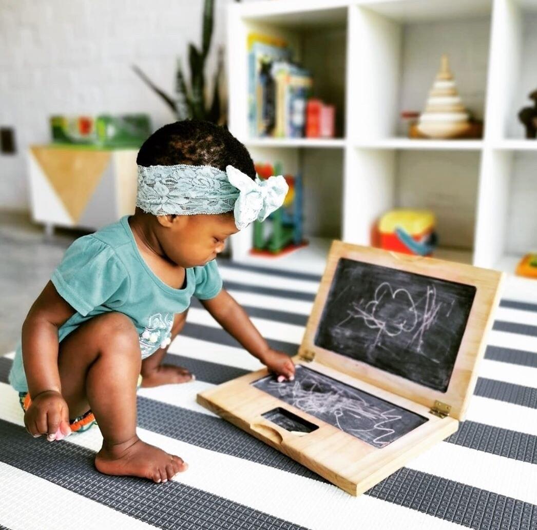 Wooden Chalk Laptop