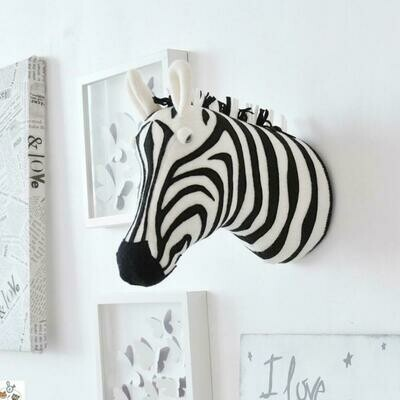 Stuffed Animal Head Wall Mount - Zebra