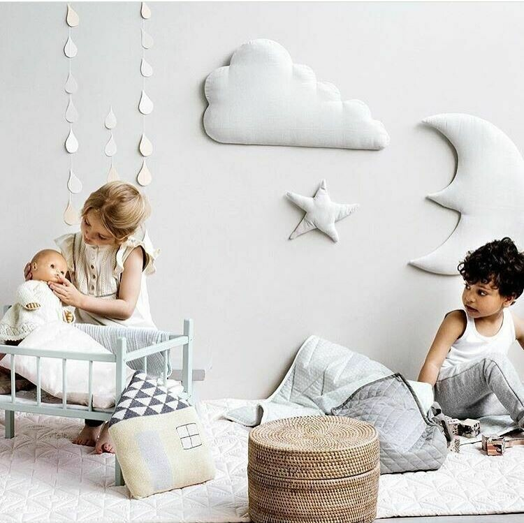 Set of Moon Cloud and Star Trio Fabric Wall Sticker - White