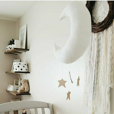 Nordic Inspired Baby Moon Decoration Mobile & Wall Hanging - In White or Pink