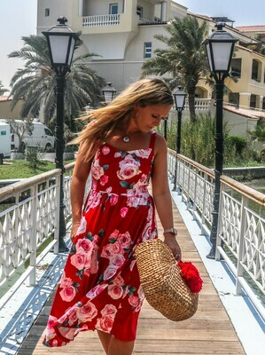 The Classical Floral Sundress: Red