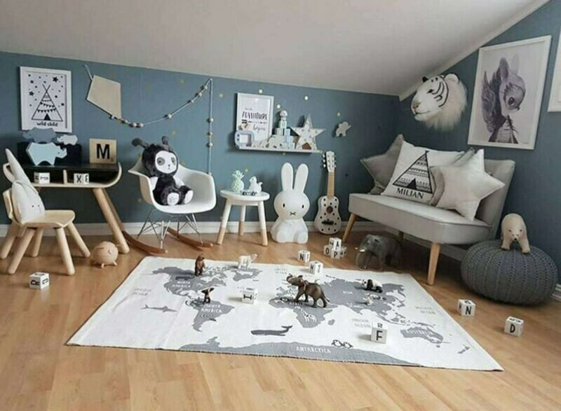 Activity Rug and Play Mat - Black & White Map of the World