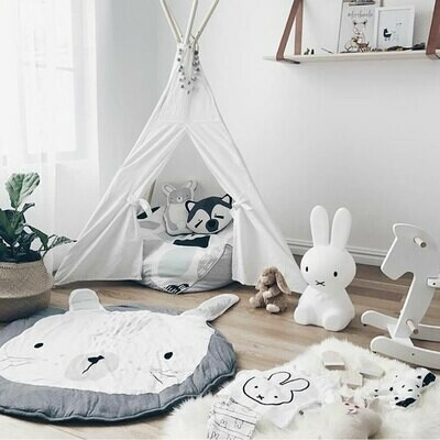 Round Play Mat for Baby Gym or Room Decor - Grey Rabbit