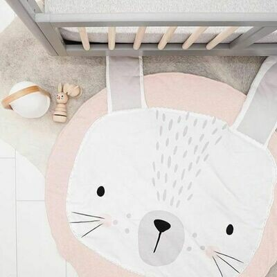 Round Play Mat for Baby Gym and Room Decor - Pink Rabbit