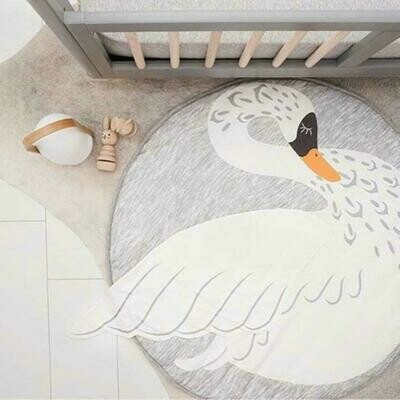 Round Play Mat for Baby Gym and Room Decor - Grey Swan
