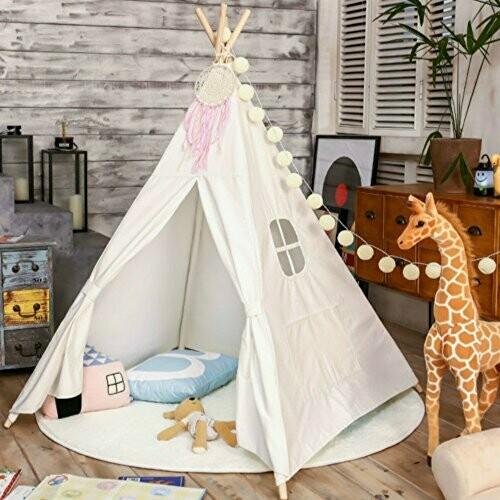 White Cotton Canvas Teepee Tent