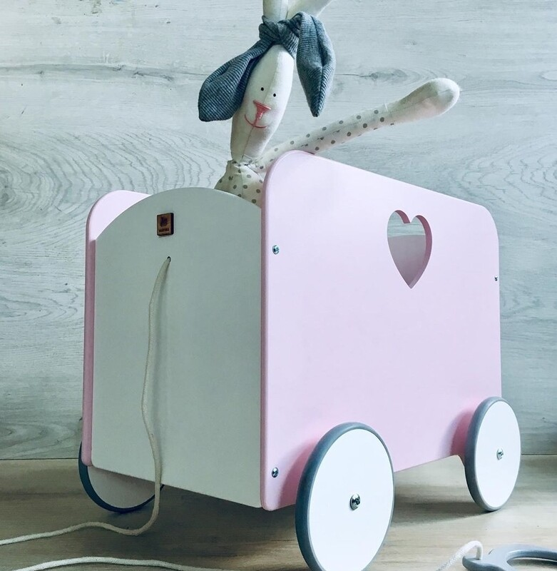 Wooden Classic Box Shaped Pull Cart
