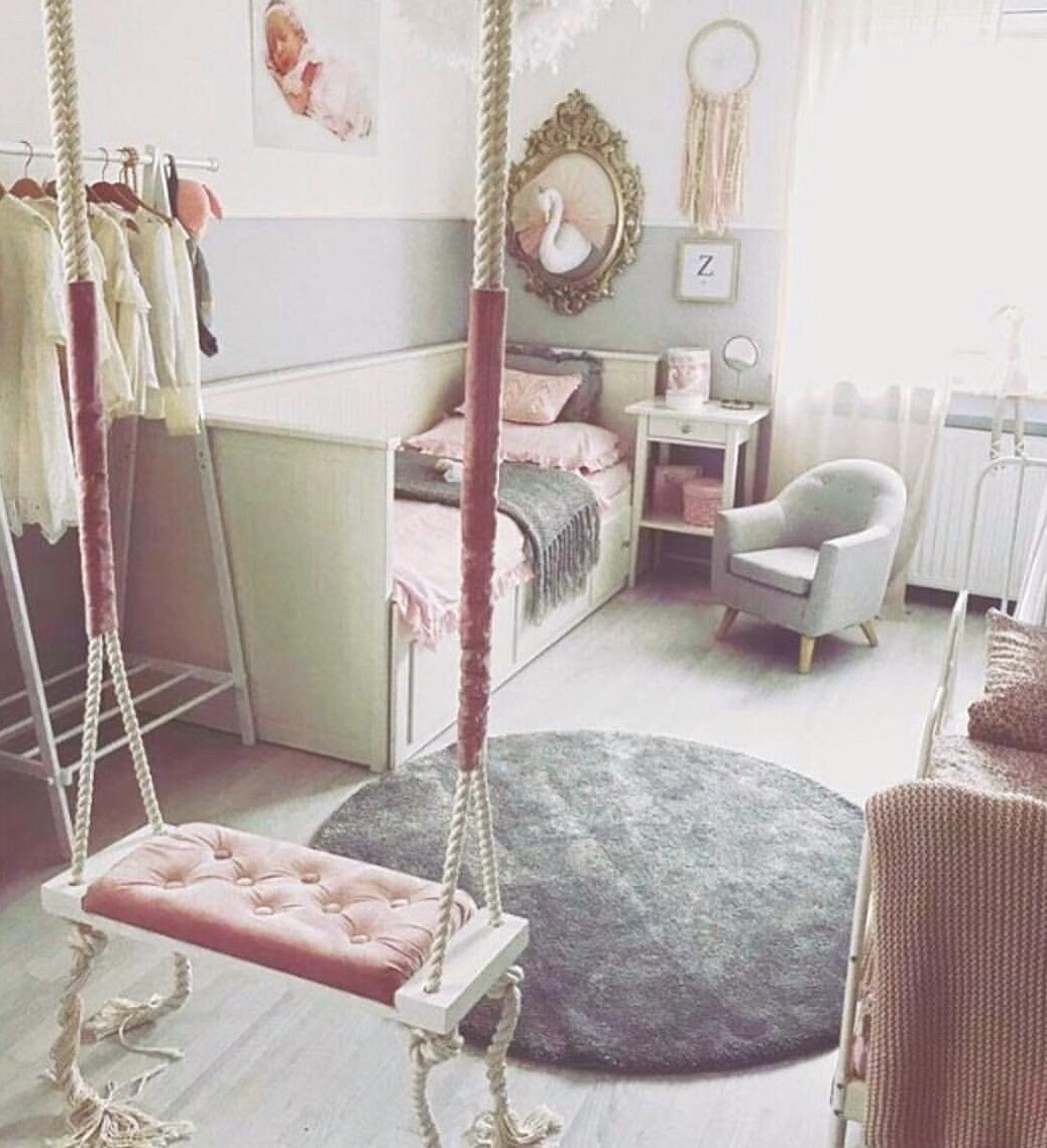 Wooden Boho Children's Swing - Grey or Pink
