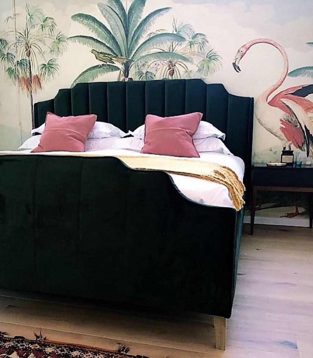 Wooden Bed Frame with Velvet Fabric