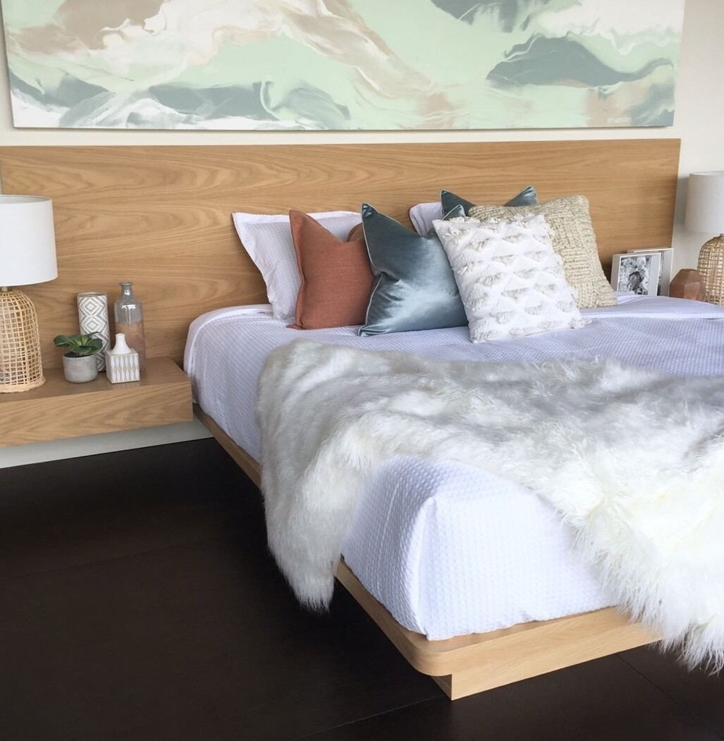 Wooden Bed Frame with Headboard and Side Table