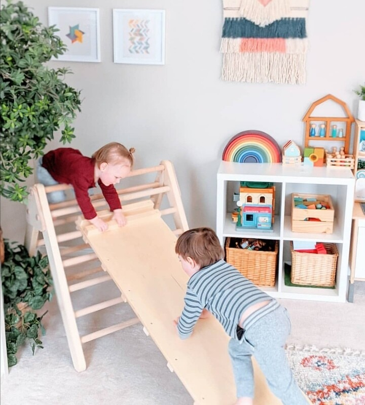 Wooden Pikler Triangle Climbing Frame with Single Ramp