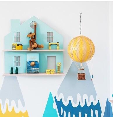 Wooden Flat House Shelf - Nursery Wall Decor