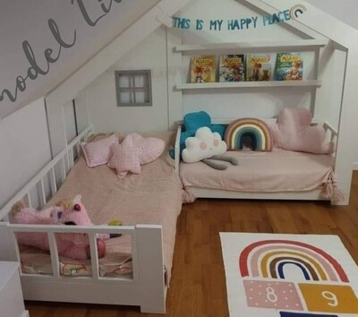 Wooden L Shape Bed Frame with Rails Window and Book Shelf