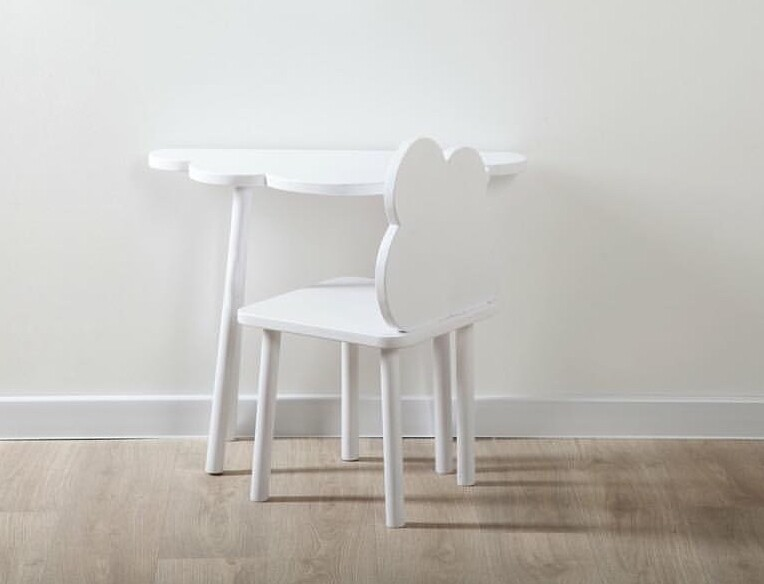 Wooden Cloud Table and Chair - Single Set