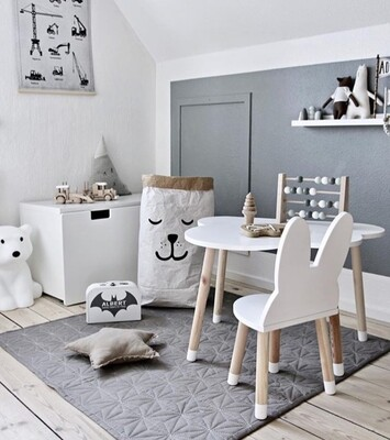 Wooden Cloud Table and Bunny Chair - Single Set